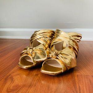 Gold Zara heels sz 8
